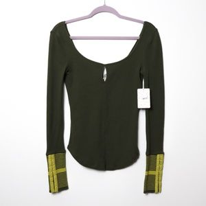 Free People | NEW Mod Stripe Cuff Top in Olive XS